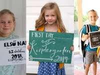 Imádnivaló első napi iskolai fotó ötletek - Te melyiket választod? Mi is készítettünk nektek táblát!